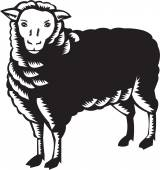 Sheep Side View Woodcut — Stock Vector