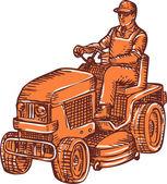 Gardener Ride-On Mower Etching — Stock Vector