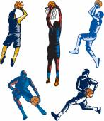 Basketball Woodcut Collection — Stock Vector