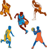 Basketball Player Dribbling Ball Collection — Stock Vector
