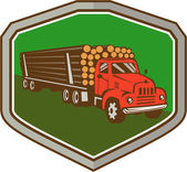 Truck Vintage Logging Shield Retro — Stock Vector