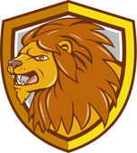 Angry Lion Head Roar Shield Cartoon — Stock Vector