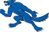 Wolf Dog Clenching Fist Cartoon — Stock Vector