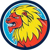 Angry Lion Head Roar Circle Cartoon — Stock Vector