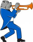 Bulldog Blowing Trumpet Side View Cartoon — Stock Vector
