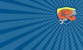Визитная карточка Гризли механик гаечного ключа щит мультфильм — Стоковое фото