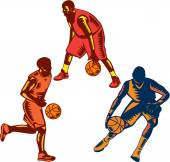 Basketball Player Dribble Woodcut Collection — Stock Vector