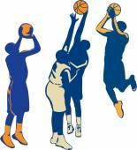 Basketball Player Shoot Ball Retro Collection — Stock Vector