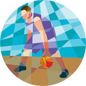 Basketball Player Dribbling Ball Circle Low Polygon — Stock Vector