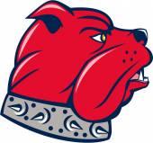 Red Bulldog Head Isolated Cartoon — Vector de stock