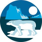Polar Bear Iceberg Circle Retro — Stockvektor