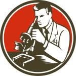 Scientist Lab Researcher Chemist Microscope Retro — Stock Vector #74377505