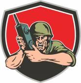 Segunda guerra mundial soldado americano campo Radio escudo — Vector de stock