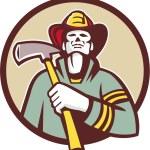 Fireman Holding Fire Axe — Stock Vector #74485303