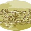 Farmer and Horses Plowing  field — Stock Vector #76536265