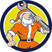 Santa Claus Mechanic Spanner — Stock Vector