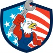American Bald Eagle Mechanic Spanner USA Flag Shield Cartoon — Stock Vector #77097343
