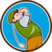 Vintage Golfer Swinging Club Teeing Off Circle — Stock Vector
