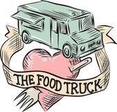 Voedsel vrachtwagen hart vork etsen — Stockvector