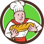Baker Holding Bread Loaf — Stock Vector
