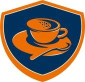 Tasse à café cuillère à café rétro de Crest — Vecteur