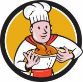 Chef cuisinier rôti poulet plat cercle Cartoon — Vecteur