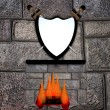 Shield and fireplace — Stock Photo #53283515