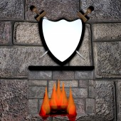 Shield and fireplace — Stock Photo