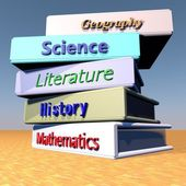 Books with school disciplines — Stock Photo