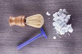 Foam, razor and brush — Stock Photo