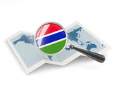 Magnified flag of gambia with map — Stock Photo