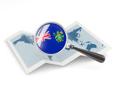 Magnified flag of pitcairn islands with map — Stock Photo
