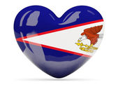 Heart shaped icon with flag of american samoa — Stock Photo