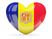 Heart shaped icon with flag of andorra — Stock Photo