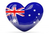 Heart shaped icon with flag of australia — Stock Photo
