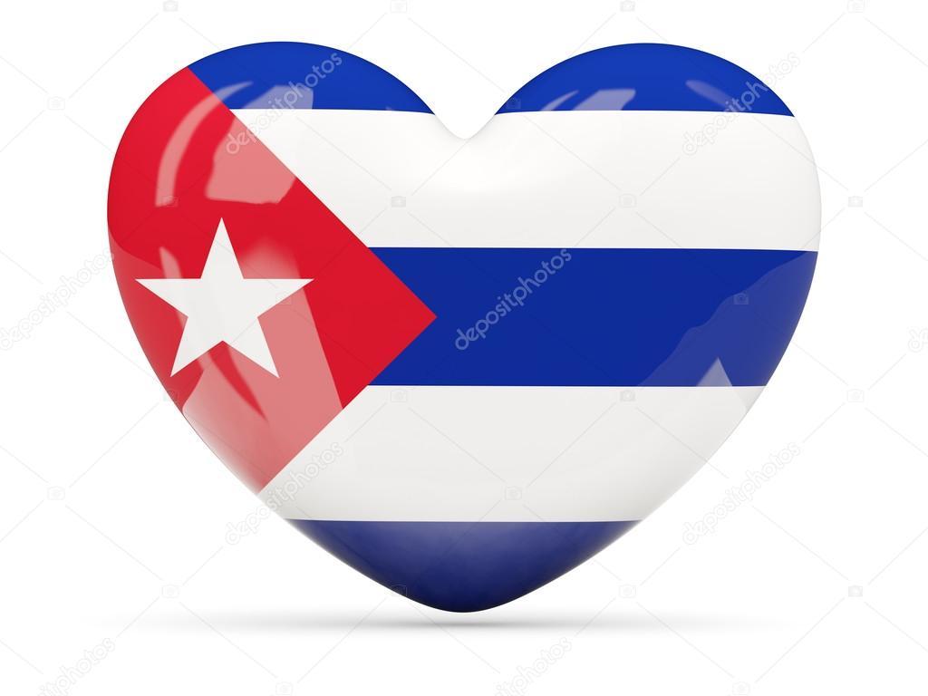 Corazón En Forma De Icono Con La Bandera De Cuba