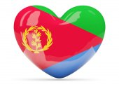 Heart shaped icon with flag of eritrea — Stock Photo