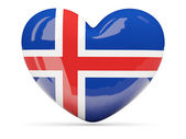 Heart shaped icon with flag of iceland — Stock Photo