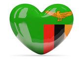 Ikona z flaga Zambii w kształcie serca — Zdjęcie stockowe