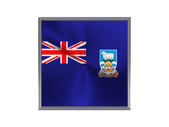 Square metal button with flag of falkland islands — Stock Photo