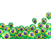 Flying balloons with flag of brazil — Stock Photo
