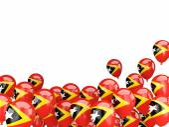 Vliegende ballons met vlag van Oost-timor — Stockfoto