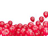 Balões voando com a bandeira da ilha de man — Fotografia Stock