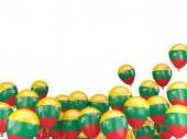 Flying balloons with flag of lithuania — Stock Photo