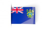 Square label with flag of pitcairn islands — Stock Photo