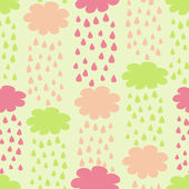 Cartoon Seamless Pattern with Rainy Clouds — ストックベクタ