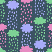 Seamless Pattern with Rainy Clouds — Stock Vector