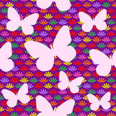 Seamless Pattern with Flowers and Butterfly — Stock Vector