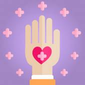 Palm Holding Pink Heart — Stock Vector