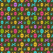 Halloween Seamless Pattern with Skulls — Vettoriale Stock